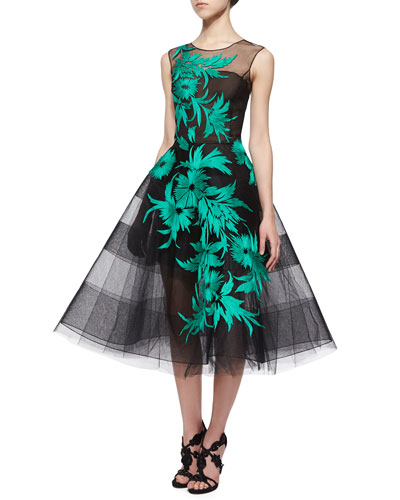 Floral-Embroidered Striped Tulle Dress, Black/Jade