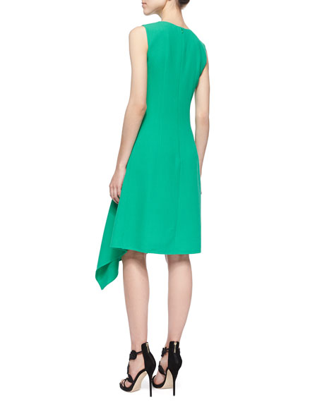 Asymmetric Scarf-Hem Dress, Jade
