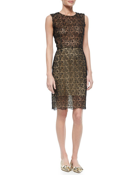 Oscar de la Renta Sheer Rose Lace Dress