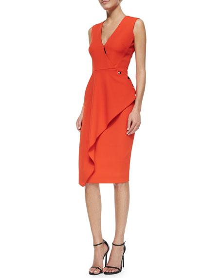 Victoria Beckham Deep V-Neck Asymmetric Ruffle Dress