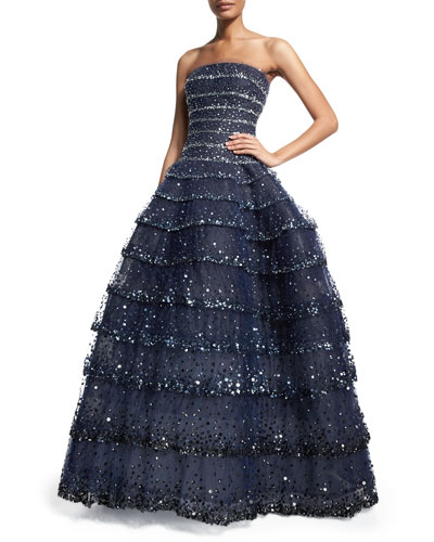 Strapless Multi-Tiered Embellished Gown, Navy