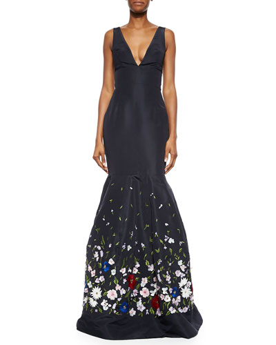 Floral-Embroidered Faille Trumpet Gown