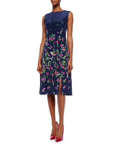 Floral-Print Box-Pleated Dress