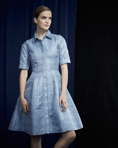 Half-Sleeve Embroidered A-Line Shirtdress, Periwinkle
