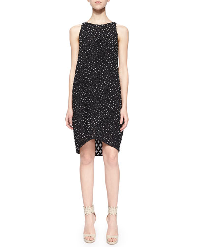 Sleeveless Bead-Embellished Shift Dress, Black