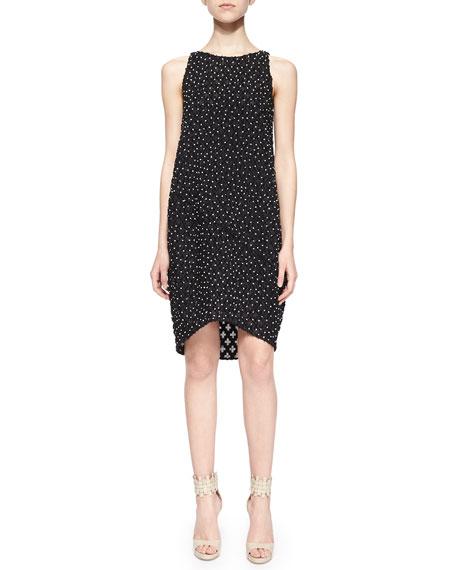 Oscar de la Renta Sleeveless Bead-Embellished Shift Dress,