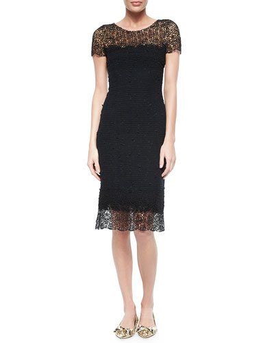 Short-Sleeve Lace-Trim Dress, Black