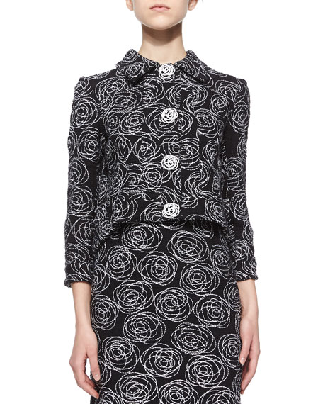 Oscar de la Renta Rose Swirl Embroidered Tweed