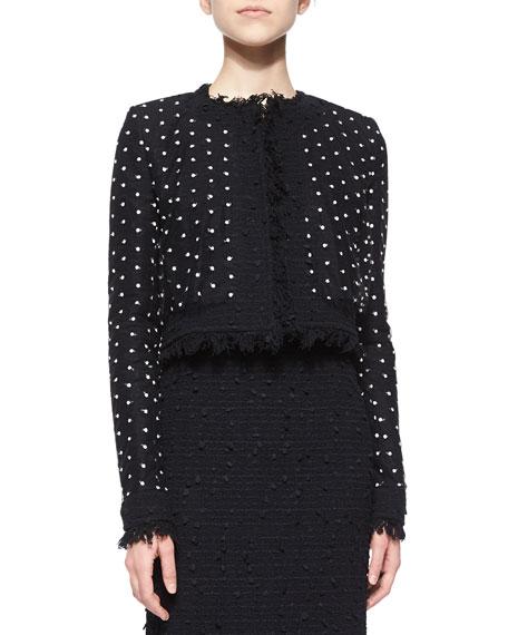 Dotted Tulle Fringe Tweed Jacket