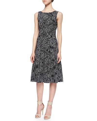 Scribble-Rose Print Sleeveless Dress, Black