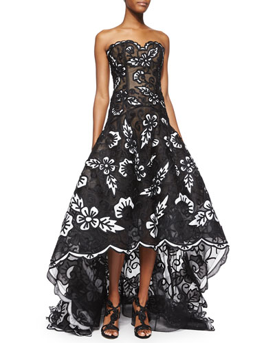 Strapless Scalloped Floral Embroidered Gown