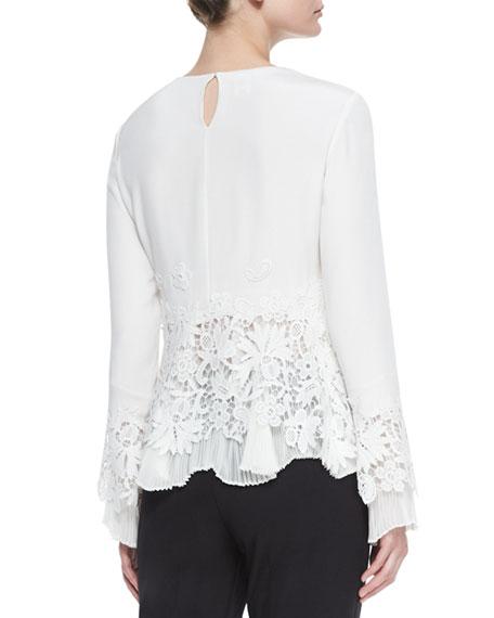 Long-Sleeve Lace Blouse w/Plisse Trim