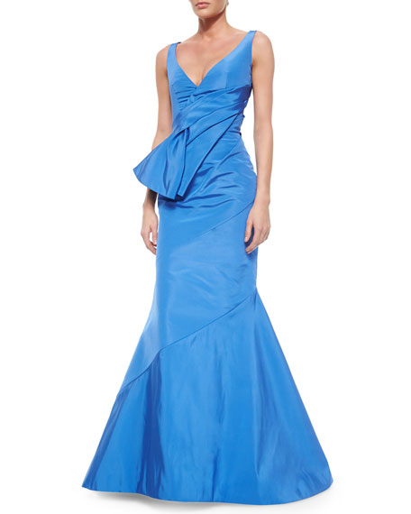 Oscar de la Renta Fold-Pleated Sash-Detailed Mermaid Gown