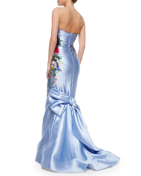 Strapless Floral-Printed Taffeta Gown, Periwinkle