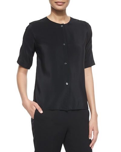 Silk Button-Front Blouse, Black