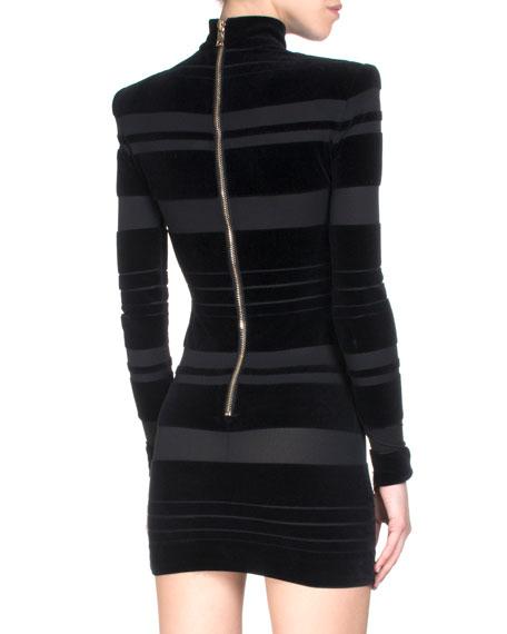 Long-Sleeve Horizontal Velour Stripe Mini Dress