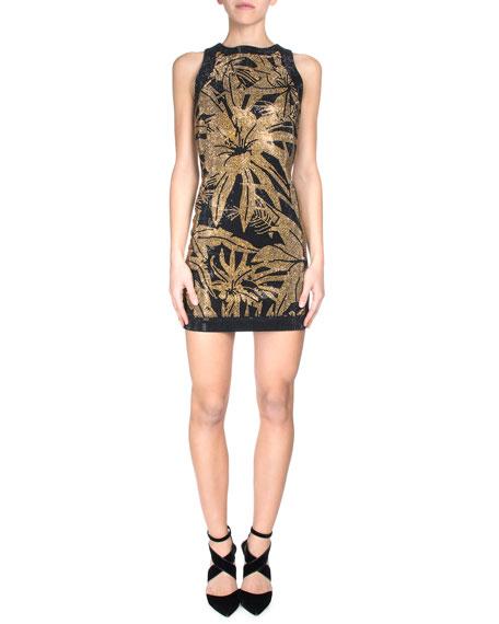 Stud Embellished Sleeveless Dress Black Gold