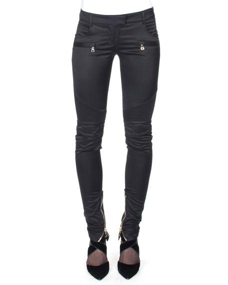 Balmain Satin Ankle-Zip Biker Pants, Black