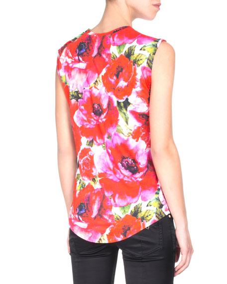 Sleeveless Floral-Print Logo Tee