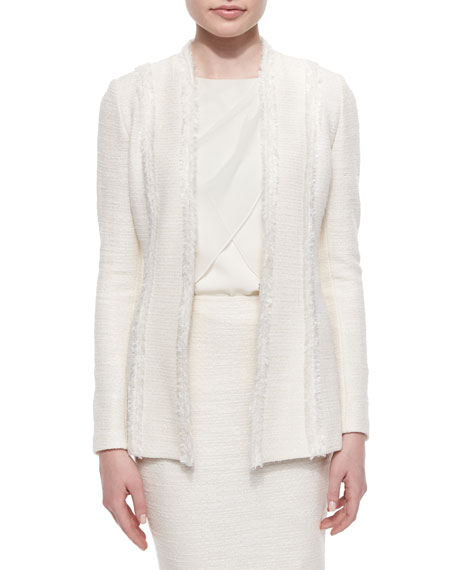 St. John Collection Fringe-Trimmed Inlay Shantung Blazer