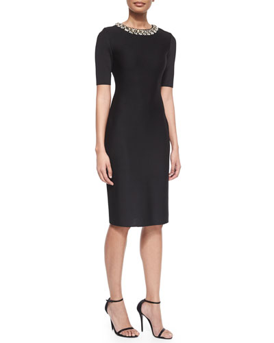 Jeweled-Neck Milano Knit Sheath Dress
