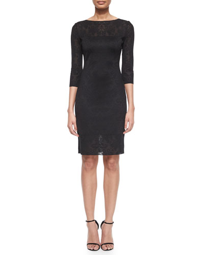 Etched Fleur Jacquard Sheath Dress