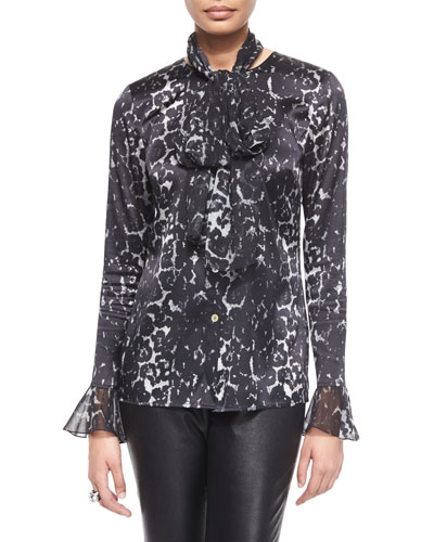 Stamped Leopard-Print Charmeuse Blouse