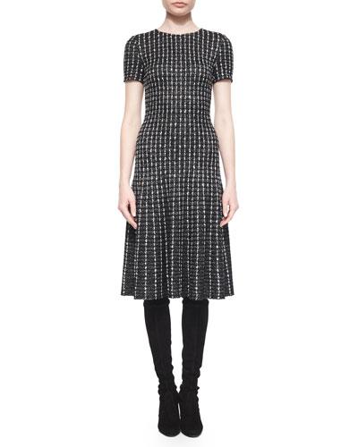 Novelty Knit Elongated Grid Dress