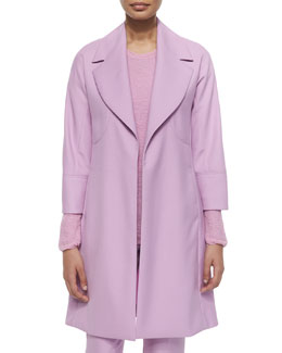 Double-Face Wool Long Coat, Magenta