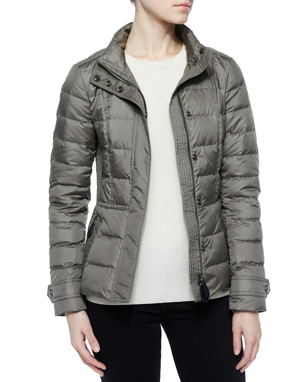 Burberry Brit Dalesbury Short Feminine Puffer Jacket Gray