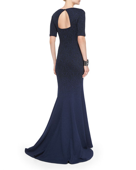 Degrade Embossed Sparkle Brocade Gown