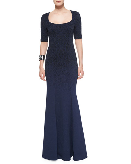 St. John Collection Degrade Embossed Sparkle Brocade Gown