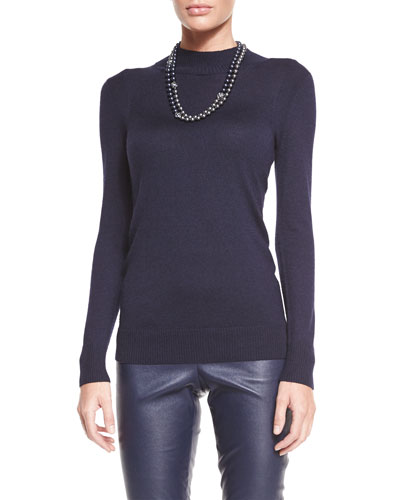 Light Gauge Knit Funnel-Neck Sweater, Navy