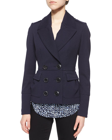 Warrington Short Slim Pea Coat, Navy