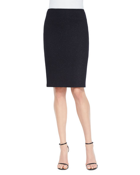 Mini Shimmer Textured Knit Pencil Skirt