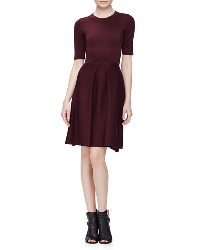 Half-Sleeve Fit-&-Flare Dress, Deep Burgundy