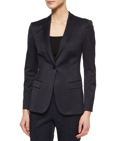 Burberry LondonLeopard Jacquard Single-Button Jacket