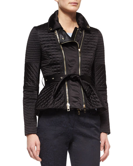 Burberry London Quilted Biker Jacket with Belt