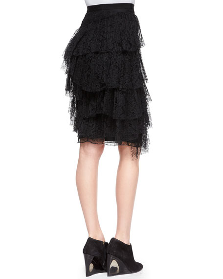 Tiered Lace Pencil Skirt, Black