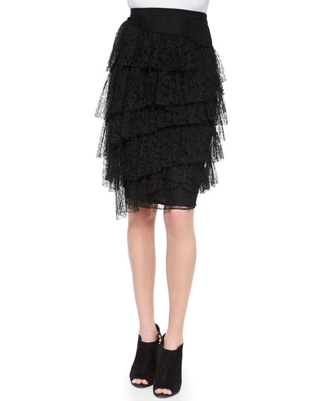 Burberry London Tiered Lace Pencil Skirt, Black