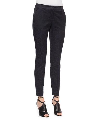 Leopard Jacquard Slim Trousers