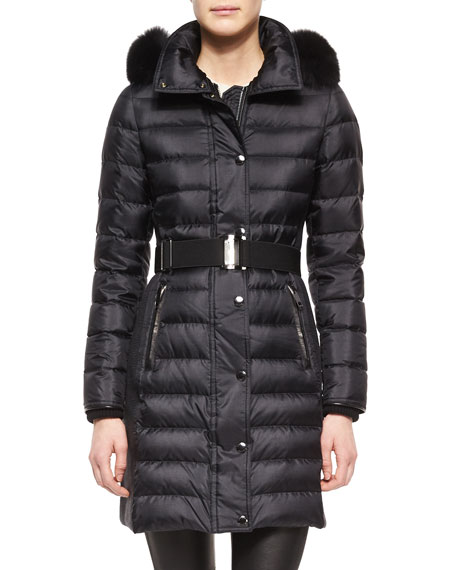 Burberry London Fur-Trimmed Quilted Puffer Coat