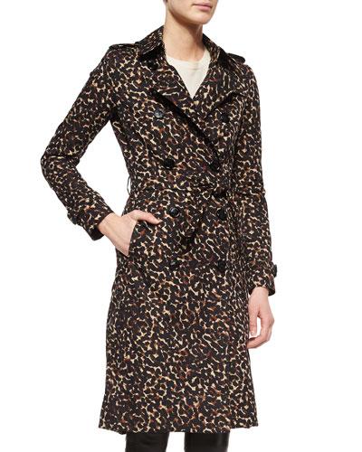 Leopard-Print Mid-Length Trenchcoat