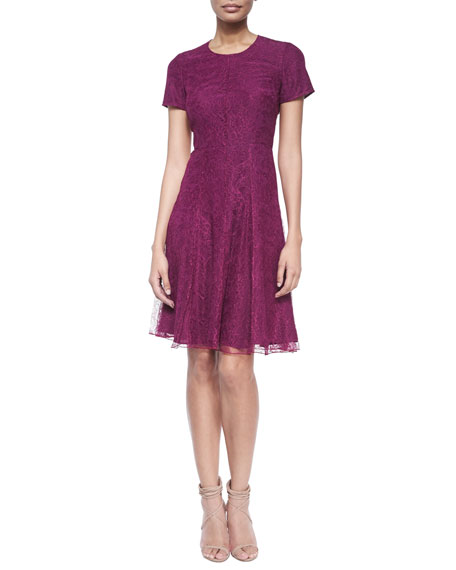 Burberry London Short-Sleeve Lace Fit-And-Flare Dress