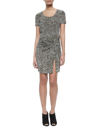 Freeda Short-Sleeve Printed Dress W/ Ruched Detail