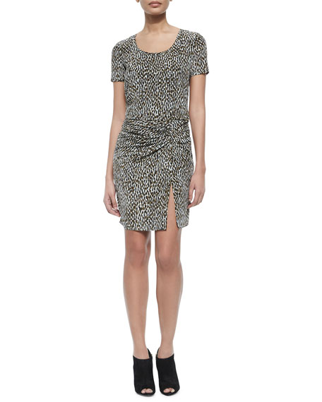 Burberry Brit Freeda Short-Sleeve Printed Dress W/ Ruched