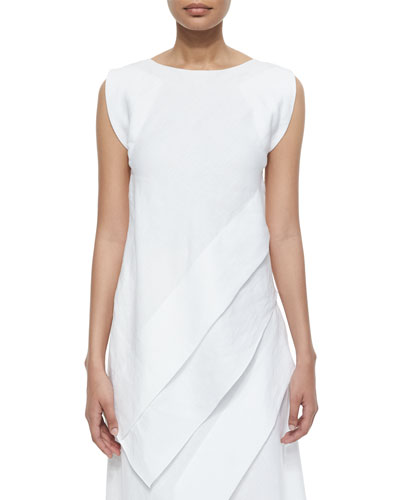 Asymmetric Paneled Linen Tunic, White
