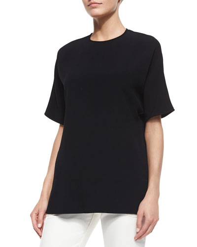 Crewneck Draped Back Blouse