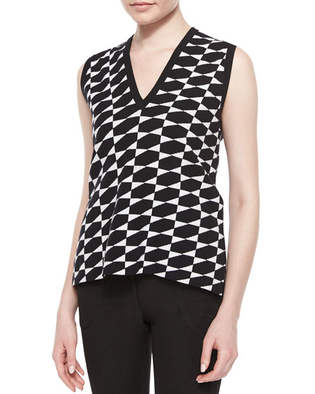Derek Lam Geometric Check Pattern Sweater Vest