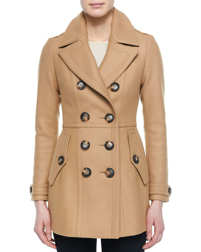Dillsmead Military Wool-Blend Pea Coat, Camel